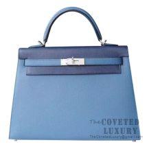 Hermes Kelly 32 Bag R2 Blue Agate And CC73 Blue Saphirand And CC73 Blue Saphir And M3 Blue Encre Epsom SHW