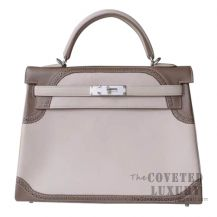 Hermes Kelly 32 Bag 1F Argile And CC18 Etoupe Ghillies SHW