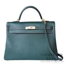 Hermes Kelly 32 Bag 2Q Vert Anglais Swift GHW