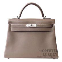 Hermes Kelly 32 Bag CC18 Etoupe Swift SHW