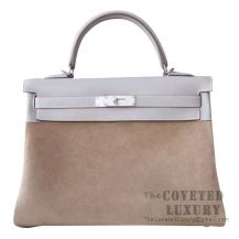 Hermes Kelly 32 Bag 4B Biscuit Swift And Grizzly SHW