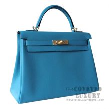 Hermes Kelly 32 Bag 7B Turquoise Blue Togo GHW