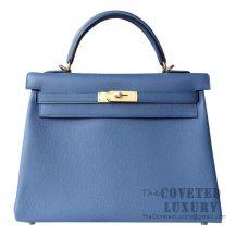 Hermes Kelly 32 Bag 7R Blue Azur Togo GHW