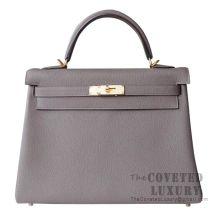 Hermes Kelly 32 Bag 8F Etain Togo GHW