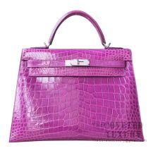 Hermes Kelly 32 Bag 5C Violet Shiny Porosus Croc SHW