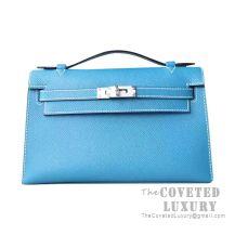 Hermes Mini Kelly I Bag CC75 Blue Jean Epsom SHW