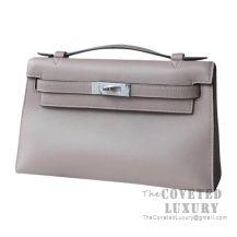 Hermes Mini Kelly I Bag M8 Gris Asphalt Swift SHW