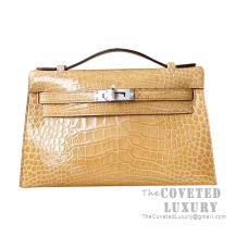 Hermes Mini Kelly I Bag 1C Poussiere Shiny Alligator SHW