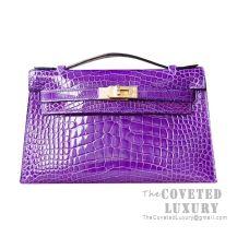 Hermes Mini Kelly I Bag 5L Ultraviolet Shiny Alligator GHW