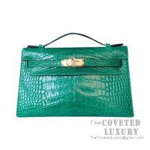 Hermes Mini Kelly I Bag 6Q Vert Emeraude Shiny Alligator GHW