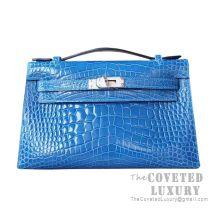 Hermes Mini Kelly I Bag 7Q Mykonos Shiny Alligator SHW