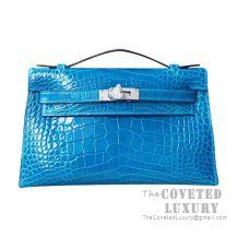 Hermes Mini Kelly I Bag 7W Blue Izmir Shiny Alligator SHW