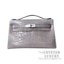 Hermes Mini Kelly I Bag 8M Gris Paris Shiny Alligator SHW