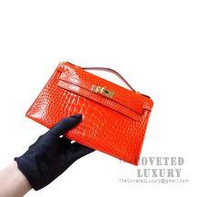 Hermes Mini Kelly I Bag 8V Orange Poppy Shiny Alligator GHW