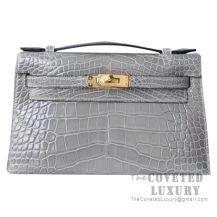 Hermes Mini Kelly I Bag CK81 Gris Tourterelle Shiny Alligator GHW