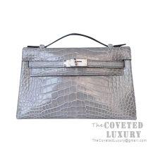 Hermes Mini Kelly I Bag CK81 Gris Tourterelle Shiny Alligator SHW