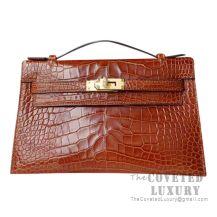 Hermes Mini Kelly I Bag CC31 Mieel Shiny Alligator GHW