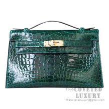 Hermes Mini Kelly I Bag CC67 Vert Fonce Shiny Alligator GHW