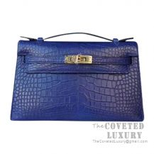 Hermes Mini Kelly I Bag CC73 Blue Saphir Shiny Alligator GHW