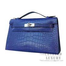 Hermes Mini Kelly I Bag CC73 Blue Saphir Shiny Alligator SHW