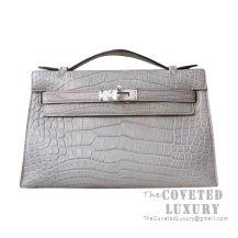 Hermes Mini Kelly I Bag CC80 Pearl Grey Matte Alligator SHW