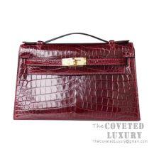 Hermes Mini Kelly I Bag F5 Bourgogne Shiny Niloticus GHW