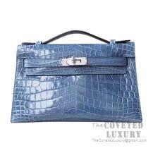Hermes Mini Kelly I Bag N7 Blue Tempete Shiny Niloticus SHW