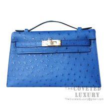 Hermes Mini Kelly I Bag 7T Blue Electric Ostrich GHW