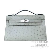 Hermes Mini Kelly I Bag 8U Blue Glacier Ostrich SHW