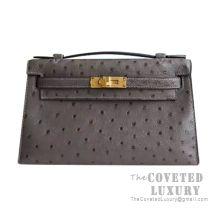 Hermes Mini Kelly I Bag CC88 Graphite Ostrich GHW