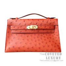 Hermes Mini Kelly I Bag CC36 Brique Ostrich GHW