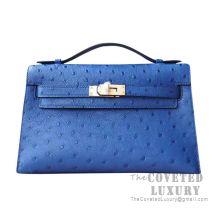 Hermes Mini Kelly I Bag CC77 Blue Iris Ostrich GHW