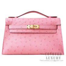 Hermes Mini Kelly I Bag CC94 Terre Cuite Ostrich GHW