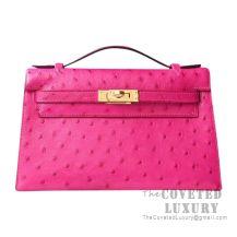 Hermes Mini Kelly I Bag E5 Rose Tyrien Ostrich GHW