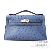 Hermes Mini Kelly I Bag N7 Blue Tempete Ostrich GHW