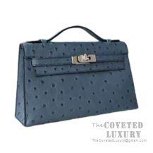 Hermes Mini Kelly I Bag N7 Blue Tempete Ostrich SHW