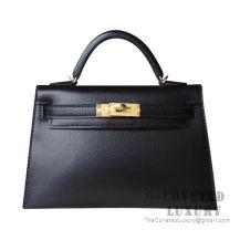 Hermes Mini Kelly II Bag 89 Noir Box GHW