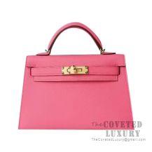 Hermes Mini Kelly II Bag 8W Rose Azalee Epsom GHW