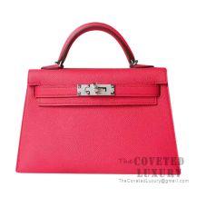 Hermes Mini Kelly II Bag I6 Rose Extreme Epsom SHW