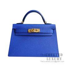 Hermes Mini Kelly II Bag I7 Blue Zellige Epsom GHW