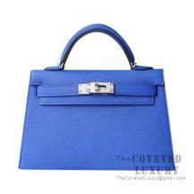 Hermes Mini Kelly II Bag I7 Blue Zellige Epsom SHW