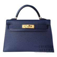 Hermes Mini Kelly II Bag M3 Blue Encre Epsom GHW