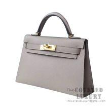 Hermes Mini Kelly II Bag M8 Gris Asphalt Epsom GHW