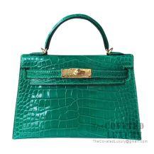 Hermes Mini Kelly II Bag 6Q Vert Emeraude Shiny Alligator GHW