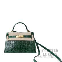 Hermes Mini Kelly II Bag CK67 Vert Fonce Shiny Alligator GHW