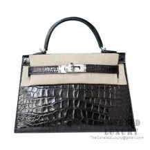 Hermes Mini Kelly II Bag 89 Noir Shiny Alligator SHW