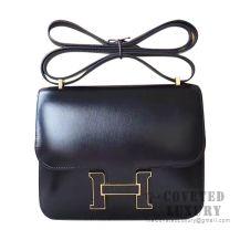 Hermes Constance 23 Bag 89 Noir Box With Lizard Buckle