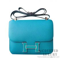 Hermes Constance 23 Bag 7F Blue Paon And 6U Menthe Epsom With Enamel Buckle