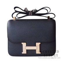 Hermes Constance 23 Bag 89 Noir Epsom With Rose Gold Hardware