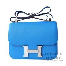 Hermes Constance 23 Bag B3 Blue Zanzibar Epsom SHW